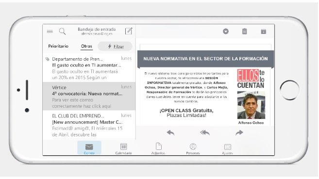 Iphone6 plus con Outlook