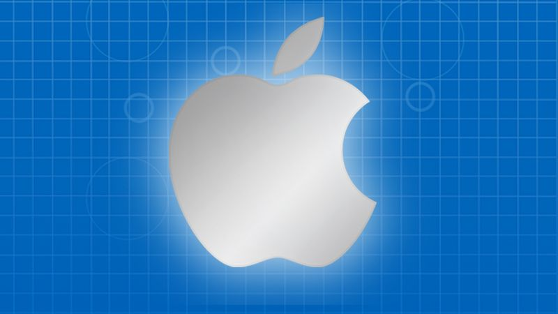 apple logo blueprint background